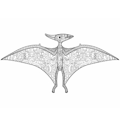 Pterodactyl dragon coloring for adults vector
