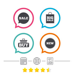 Sale speech bubble icon buy cart symbol vector