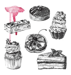 set of hand drawn desserts vector image