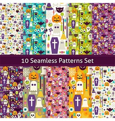 Ten Flat Seamless Halloween Party Patterns Set vector image