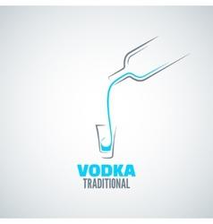 Vodka shot glass bottle background vector