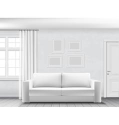 White interior with sofa vector