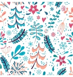 Winter flowers and snowflakes seamless pattern vector image vector image