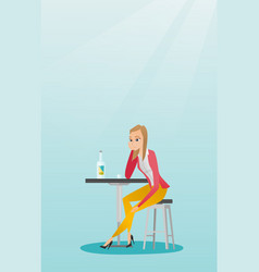 Woman drinking a cocktail in the bar vector