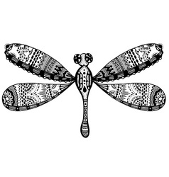 Zentangle stylized dragonfly vector image