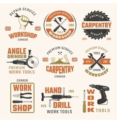Work tools retro style emblems vector