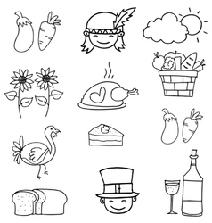 Doodle of thanksgiving hand draw object vector