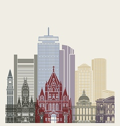 Boston skyline poster vector