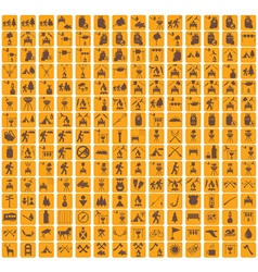 Set of camping equipment pictograms vector