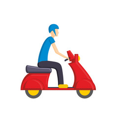 Man on red scooter bike flat vector
