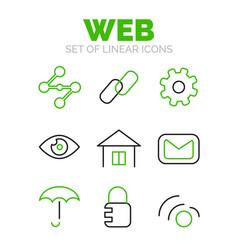 set of universal web icons flat minimal linear vector image