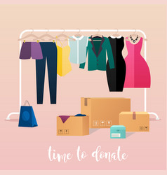 Clothes donation girl makes clothes donations vector