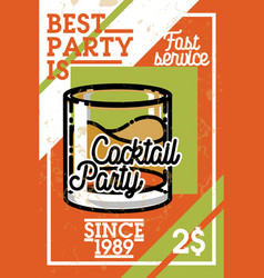 Color vintage coctail party banner vector