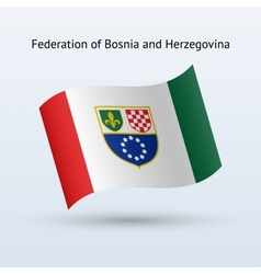 Federation of bosnia and herzegovina flag waving vector