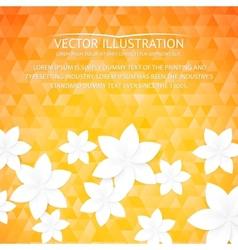 Orange paper flowers postcard vector image