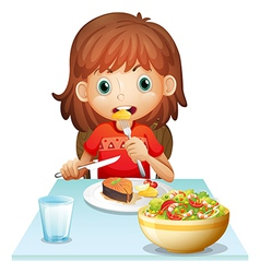 A young woman eating lunch vector