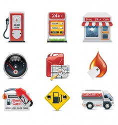 Vector gas station icon set vector