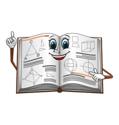 Open textbook with geometric shapes cartoon vector