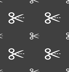 Scissors with cut dash dotted line sign icon vector image