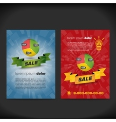 Leaflet design with chart and ribbon vector
