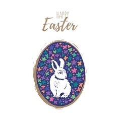 Floral easter egg with bunny vector