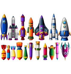 Different kind of rocket ships and bombs vector image