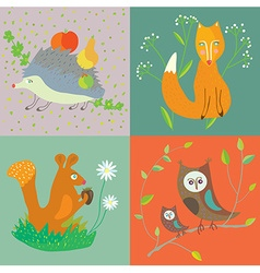 Forest animals and birds funny set for kids vector image