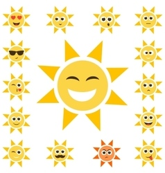 Sun set with smiley faces vector