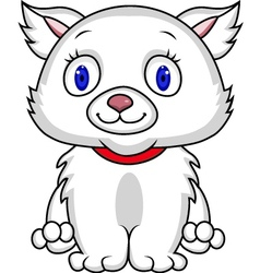 White cat cartoon vector