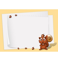 A squirrel in front of the empty papers vector image