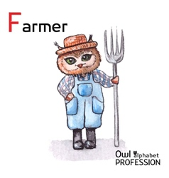 Alphabet professions Owl Letter F - Farmer vector image vector image