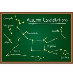 Autumn constellations on chalkboard vector