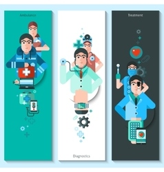 Banners set of doctor characters vector