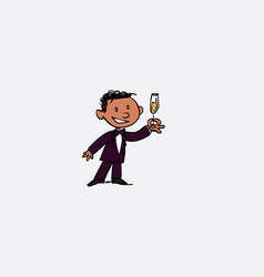 black groom toasting happy isolated character vector image vector image