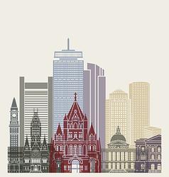 Boston skyline poster vector