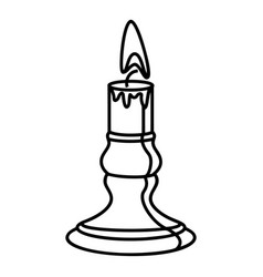Burnt candle icon outline style vector