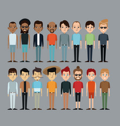 Cartoon people men together culture ethnic image vector