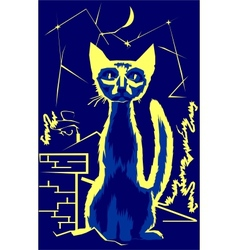 Cat on the roof at night vector