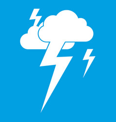 Cloud and lightning icon white vector