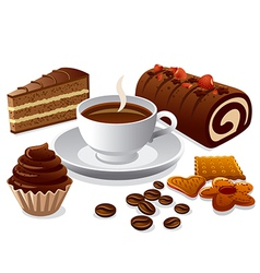 coffee and cakes vector image vector image