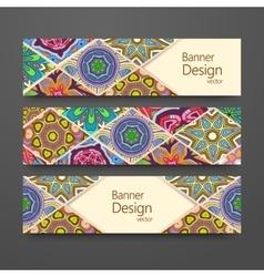 Colorful ornamental ethnic banner set vector image vector image