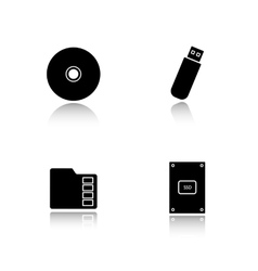 Data storage devices drop shadow icons set vector
