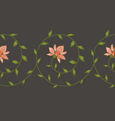 Embroidery floral border pattern vector