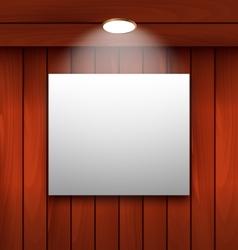 Empty frame on wooden wall lamp illuminated - vector