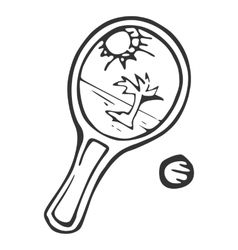 Equipment for beach tennisracket and ball vector image