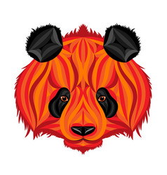 fire panda picture of fire bear vector image