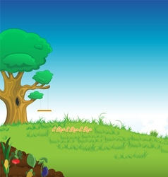grassy lawn tree vector image