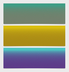 Halftone square pattern horizontal banner set - vector