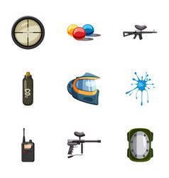 outfit paintball icons set cartoon style vector image vector image