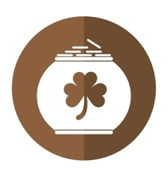 Pot full coins shamrock decoration celebration st vector